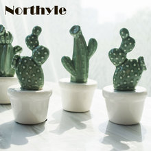 Genuine Dream house DH BS179236 Ceramic potted cactus miniatures fairy plant figurine porcelain home decoration accessories