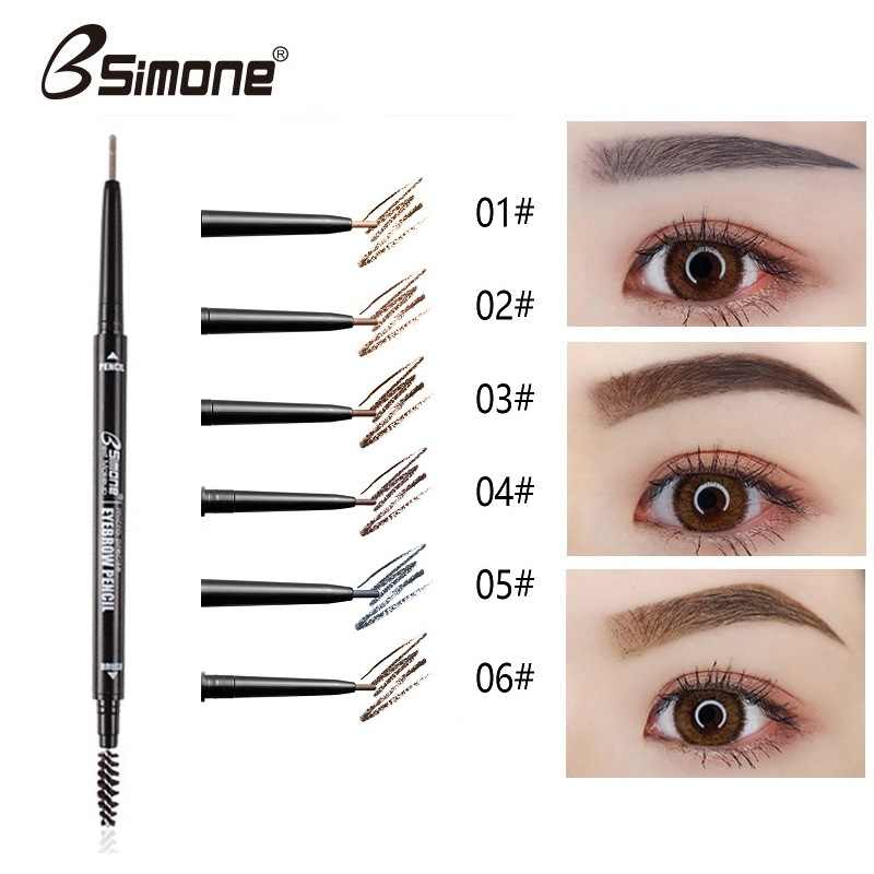 Double Thin Head Round Fine Eyebrow Pen Tattoo Brown Eyebrow Pencil Long Lasting Waterproof Not Mottled Thicker Eyebrows TSLM2