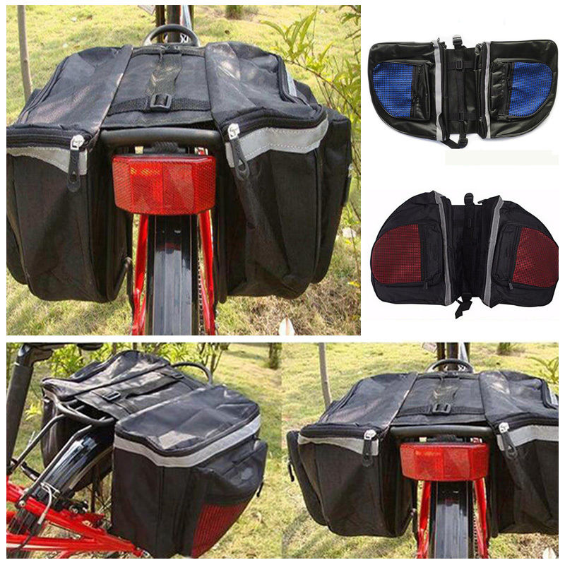 New Cycling Bicycle Rack Back Rear Seat Large Storage Bag Carrier Double Pannier Hot Mountain Bike Bag Big Space Easy To Place image