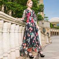 Silk print v neck bohemian beach long dress 2018 new runway women summer dress high quality office lady a ling dress