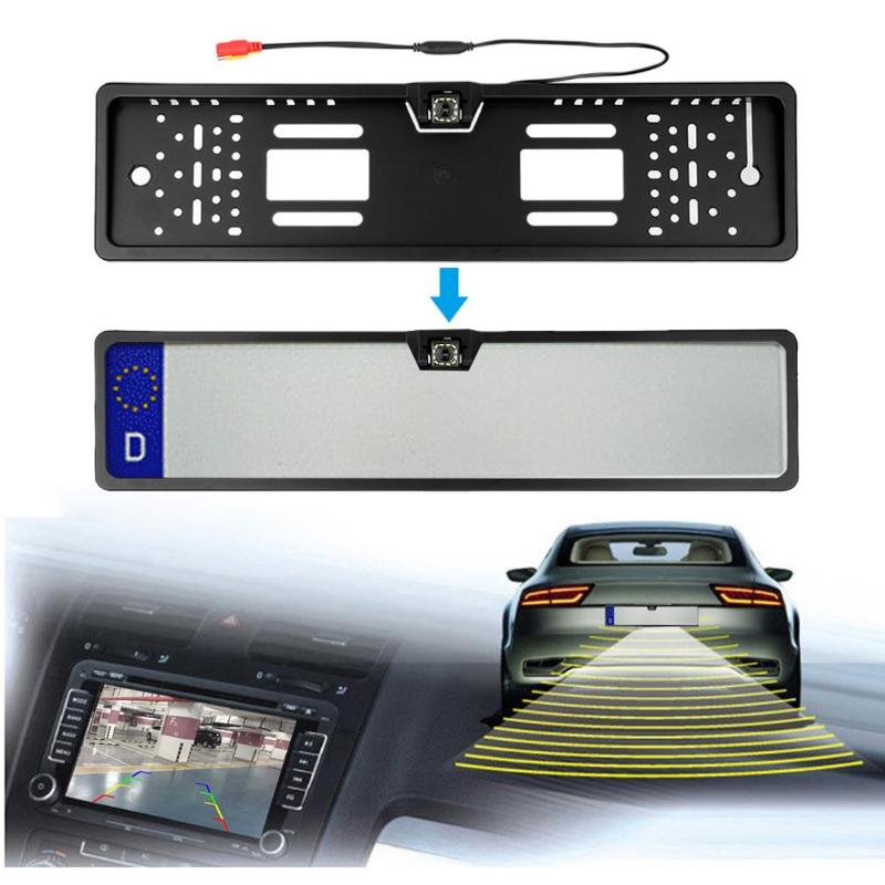Waterproof European License Plate Frame Rear View Camera Auto Car Reverse Backup Parking Rearview 12LED Night Vision Cam plate