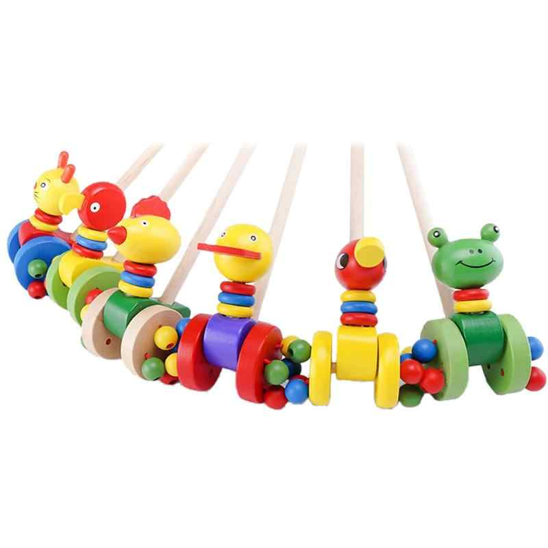 Baby Single Bar Coagent New Duck Car Cartoon Animal Cart Wooden Animal Trolley Toddler Child Putting Puzzle Toys