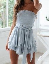 Women Summer Solid Strapless Dress Boho Cotton Linen Ruffle Beach Sexy Lace Up Party Mini