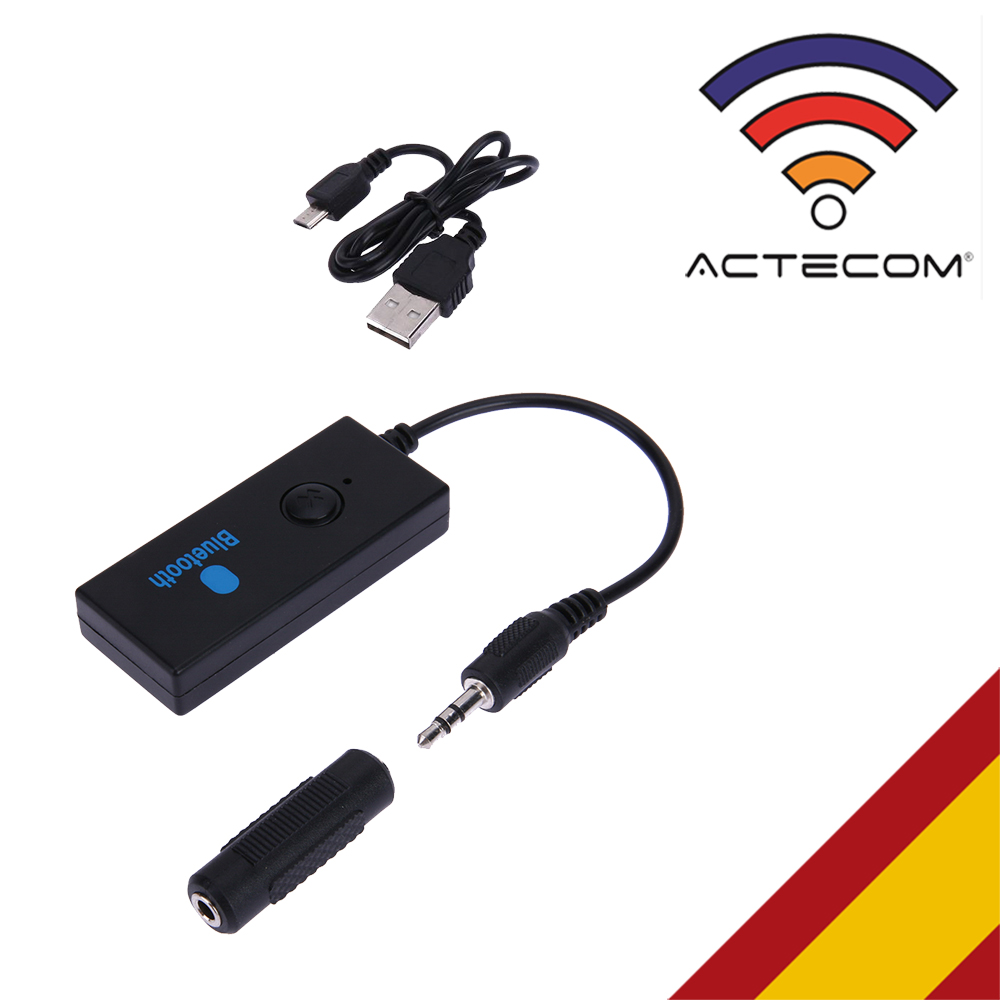ACTECOM Receptor De Audio Inalámbrico Bluetooth 3.0 Jack 3.5mm Manos Libres Coche Negro BT Wireless Adapter Bateria Jack Aux