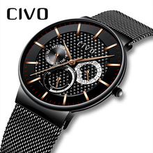 CIVO Luxury Top Brand Mens Watch Casual Sports Waterproof Chronograph Date Watches For Men Black Steel Mesh band reloj hombre