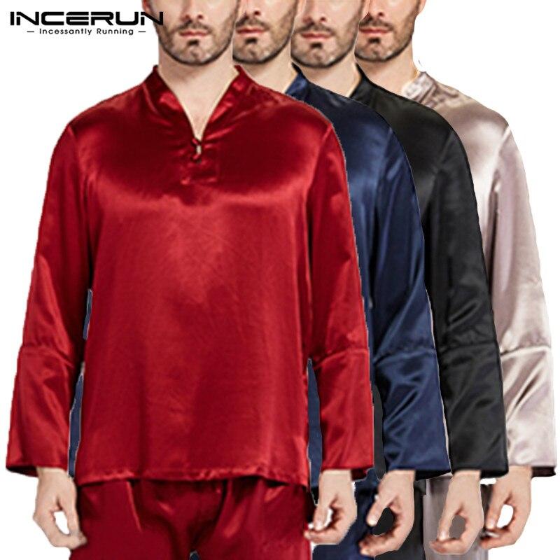 2019 Pullovers Mens Tee Long Sleeve Satin Silk Man Tops Pajama Sleepwear Homewear Pyajama Loose Solid Soft Plus Size 5XL Hombre