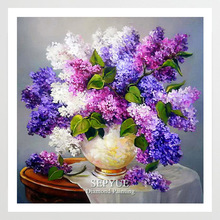 SepYue Diamond Painting Full Drill 5D DIY Paint Cross Stitch Purple Flower Rhinestone Embroidery Mosaic