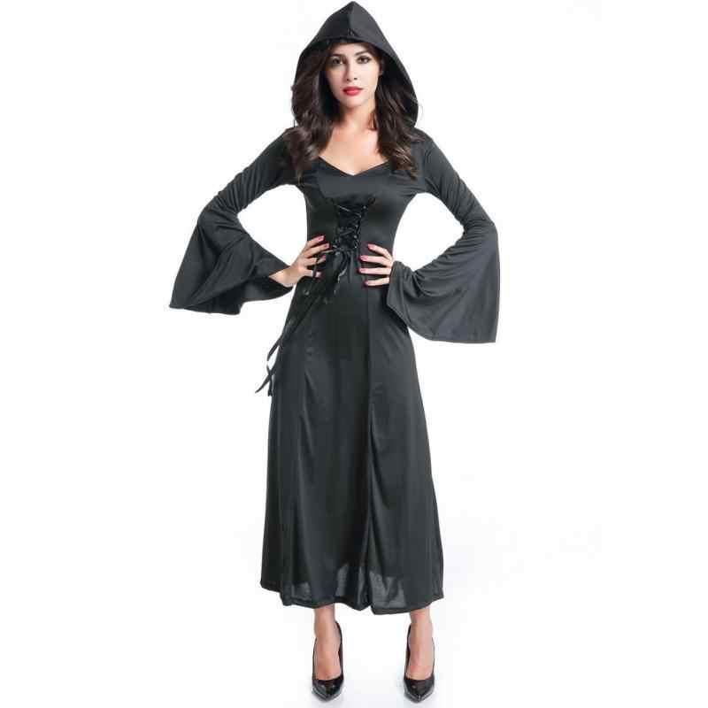 7459630567 Women Halloween Dress Death Adult Costume Vampire Cosplay Hooded Club Party  Red Purple Black