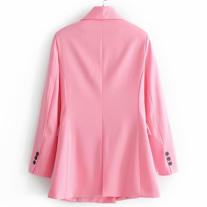 Women Office Lday Chic Pink Blazer Jacket Pockets Double Breasted Long Sleeve Office Wear Coat Female Casual Outerwear Tops in Blazers from Women 39 s Clothing