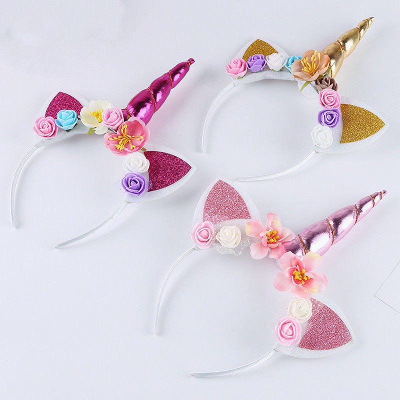Kids Girl Baby Unicorn Horn Headband Hair Band Accessories Headwear Head Wrap