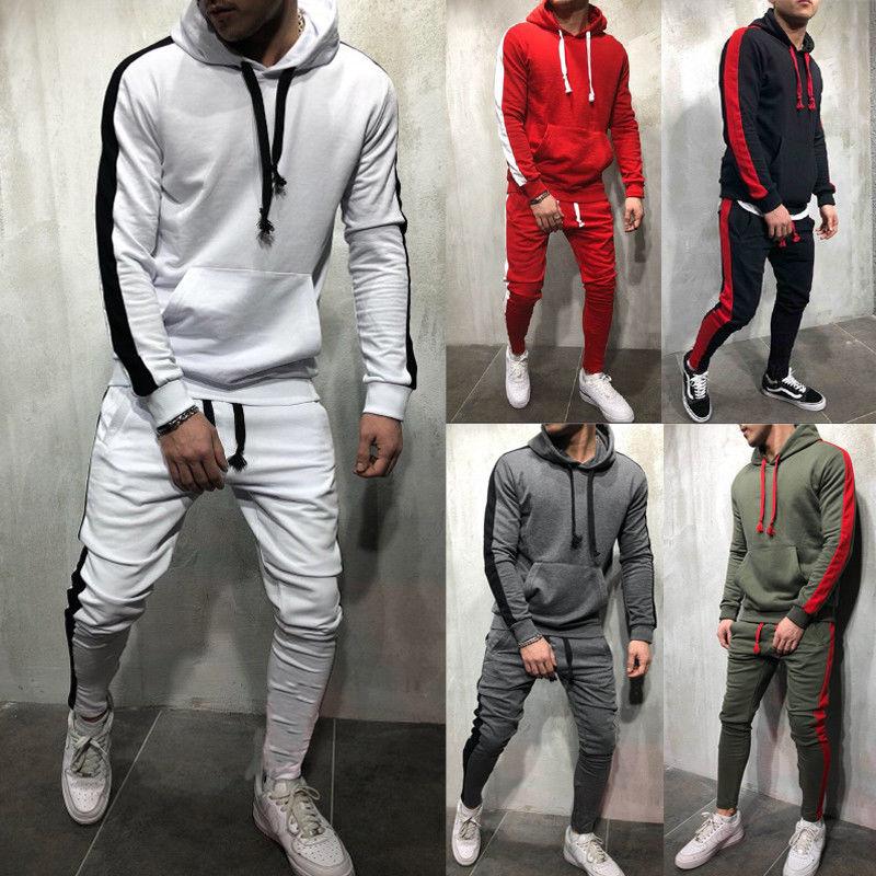 2019 New Mens Tracksuits 2 Piece Set Men Autumn Hip Pop Hoodies Set Hooded Sweatshirt Top + Pencil Slim Jogging Pants Track Suit