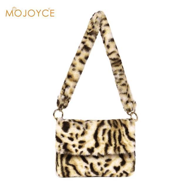 8a023aed94a2 Fashion Faux Fur Women Messenger Bag Luxury Winter Leopard Shoulder Bag  Casual Female Crossbody Bags Bolsa Feminina 2018