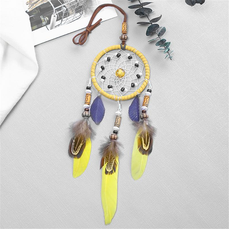 Image 4 - Handmade Yellow Dream Catcher Wind Chimes Indiana Style Feather Pendant Dreamcatcher Creative Car Hanging Decoration Accessories-in Ornaments from Automobiles & Motorcycles