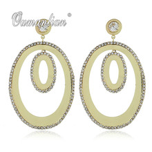 2019 New arrival Luxury Sparkling Long Oval Crystal Earrings for Women Rhinestone Simple Gold silver color Wedding Party E094 недорого