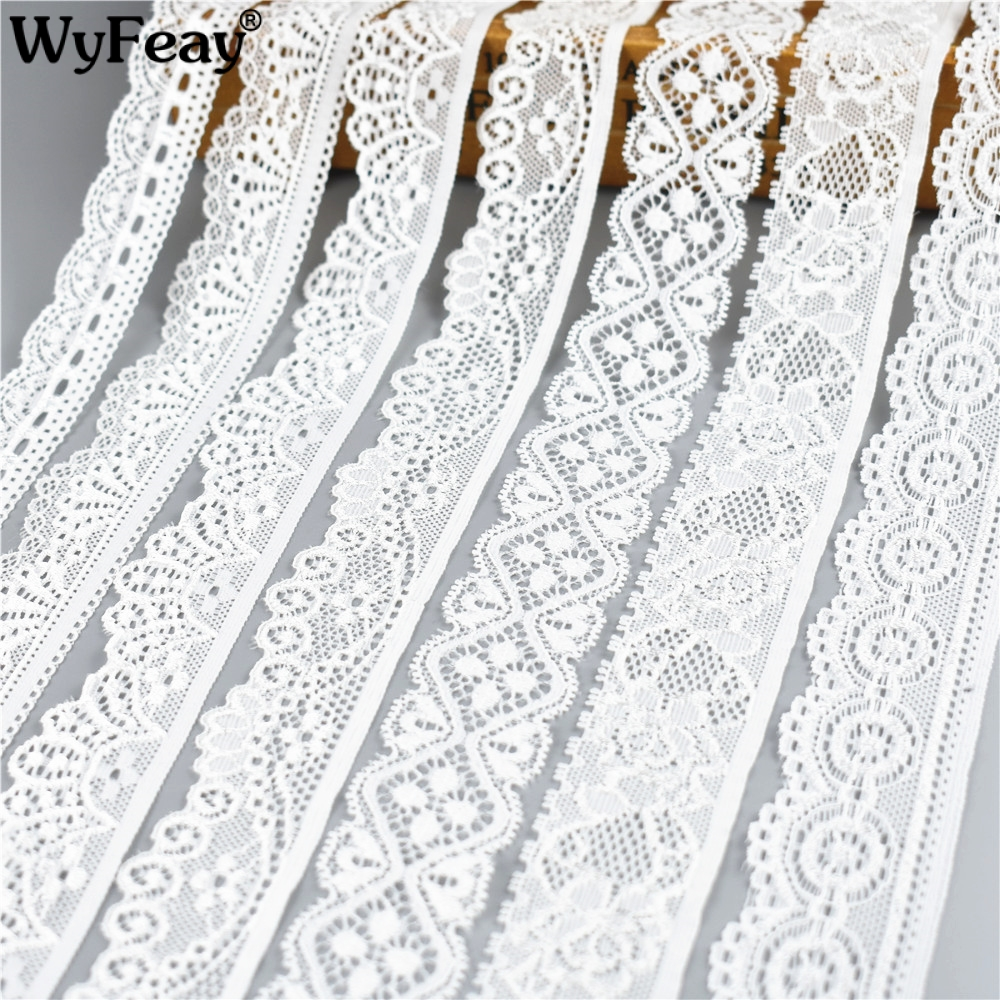 WyFeay 5Yard/Lot Elastic Lace Lace Trim Decoration