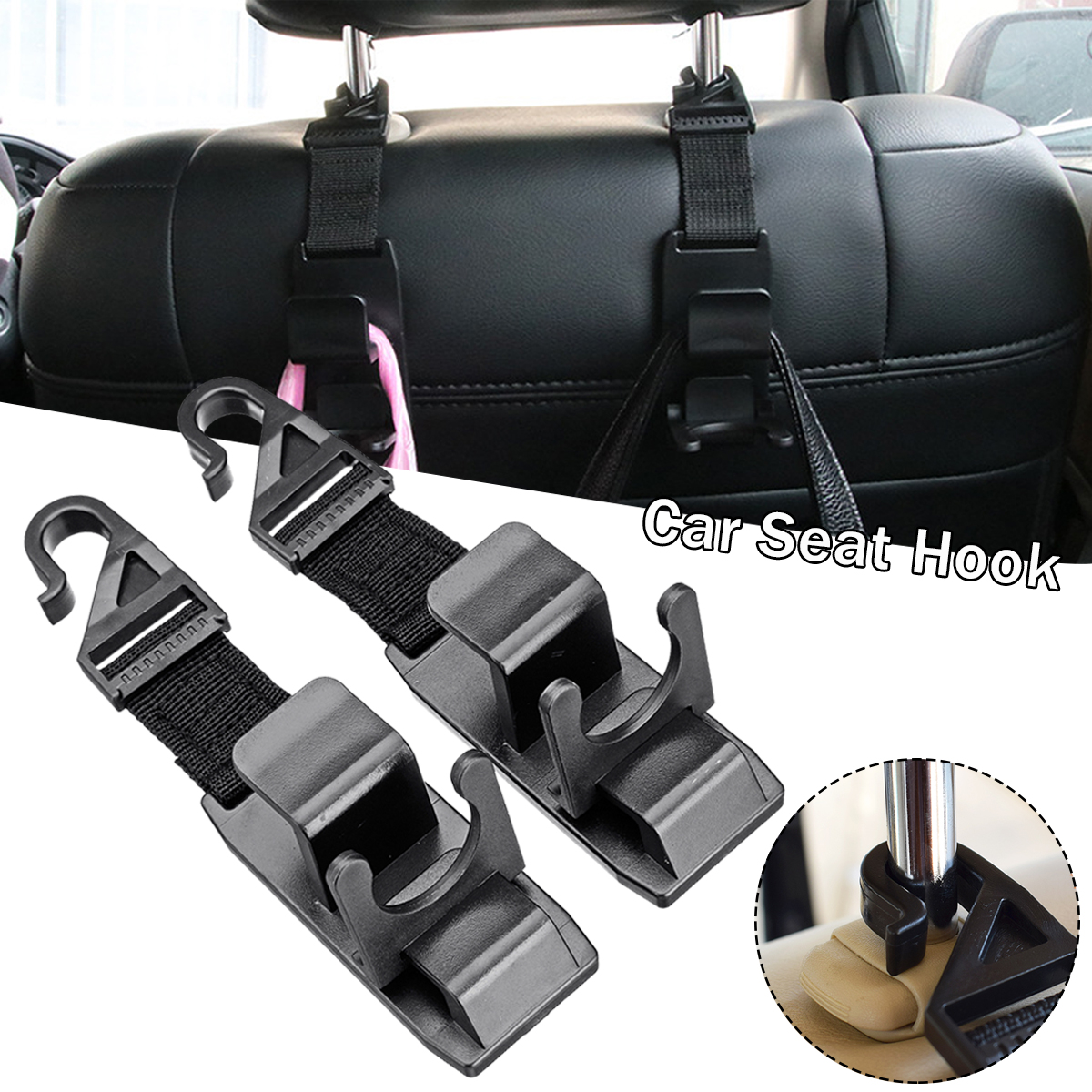 2pcs Auto Car Seat Truck Coat Hook Purse Bag Hanger Hanging Organizer Holder