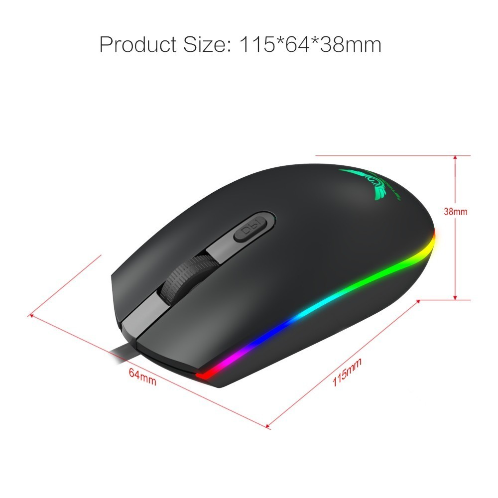 Image 2 - Optical USB Wired Gaming Mouse 1600DPI Mini Mice RGB Colorful Lights Wired Mouse For Laptop PC Computer Business Office Gamer-in Mice from Computer & Office