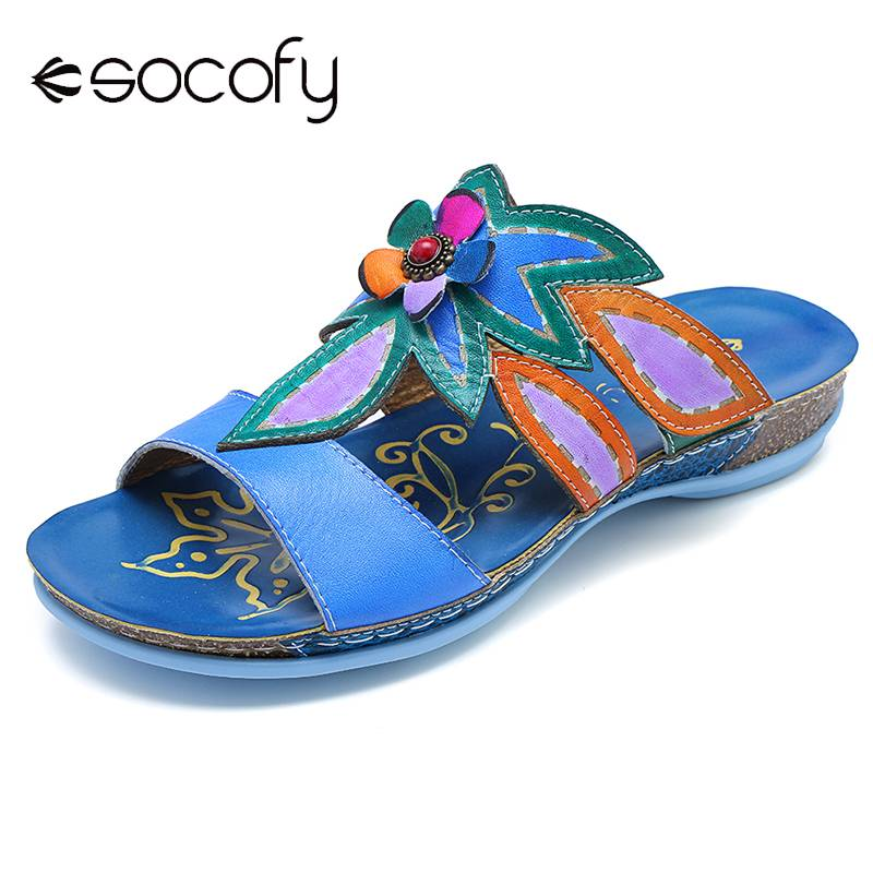 SOCOFY Sandals Hand Painted Bohemia Flowers Pattern Genuine Leather Stitching Soft Hook Loop Sandals Ladies Shoes 2019 Spring-in Low Heels from Shoes    1