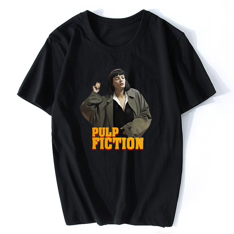 Pulp Fiction <font><b>Mia</b></font> Quentin Tarantino Cotton Funny Streetwear <font><b>Tshirt</b></font> Women Summer <font><b>Black</b></font> White Casual Female T Shirt image