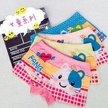 4 pçs/lote das Crianças roupa interior de algodão meninas cueca boxer dos desenhos animados impresso do bebê do sexo feminino calcinha