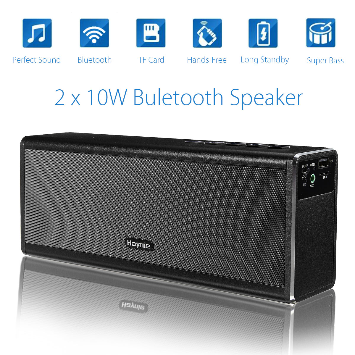 KINCO 20W 4000mah Portable HIFI Wireless Bluetooth 4.0 Speaker Stereo Super Bass Caixa Sound Box HandFree for Phone Power Bank kr8800 portable bluetooth v3 0 led speaker wireless nfc fm hifi stereo loudspeakers super bass caixa se som sound box for phone