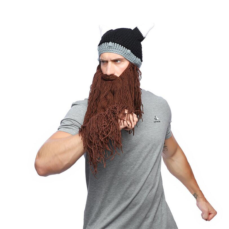 560b2adf7f8 IANLAN Unisex Nordic Style Hats Autumn Winter Viking Horn Wool Creative  Long Beard Hats Halloween Caps for Men Women IL00178-in Skullies   Beanies  from ...