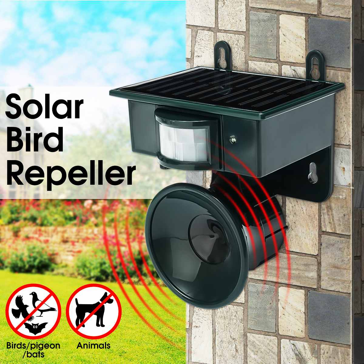 Outdoor Ultrasonic Repellent Solar Powered Garden Pest Bird Cat Dog Mouse Rat Repeller PIR Sensor Keep Animals Away