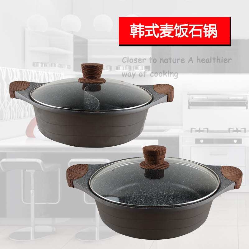 Alliage d'aluminium épais mandarine canard spécial soupe ragoût pot ménage instantané bouilli chaud pot chinois fondue chafingdish stewpan