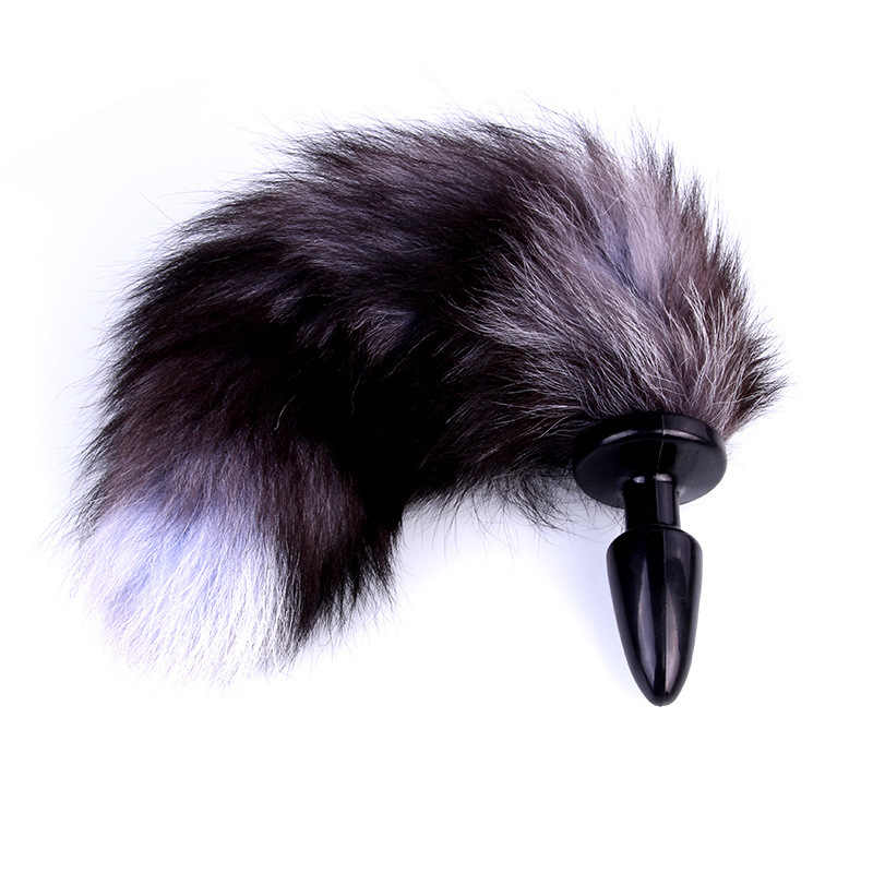 0e405ee16 ... Funny Sexy Faux Fox Tail Adult Game Toys Butt Backyard Stopper Women  Cosplay Halloween Props Couples ...