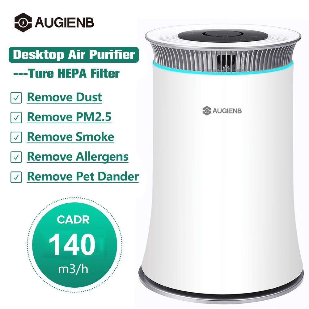 AUGIENB Air Purifier with True HEPA Filter Odor Allergies Eliminator for Smoke Dust Pets Dander Air Cleaner Night Light Timer