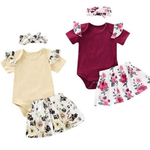 3PCS Newborn Kids Baby Girl Outfits Clothes Romper Bodysuit Tutu Skirt Headband Cotton Baby Clothing