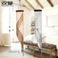 Fashion European Solid Wood Music Metal Bells Hanging Role Creative Birthday Present Home Decoration Pendant Hanging Wind Chimes