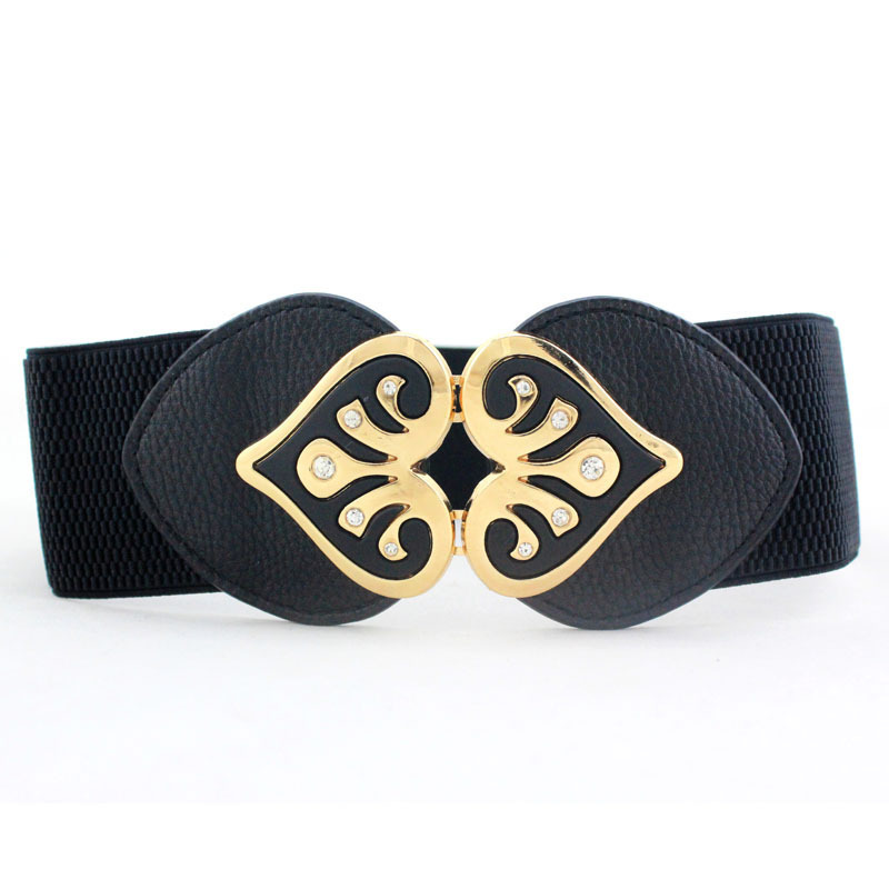 New Design Women Wide Elastic Cummerbund Belt Ladies Double Heart-shaped Rhinestone Buckle Waist Belts Fashion Girdle Waistband
