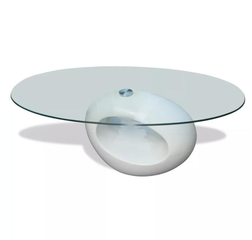 VidaXL mesa de sala Basse mesa de centro moderna con alto brillo Oval Base de vidrio mesa de noche de dormitorio mesa de noche decoración del hogar