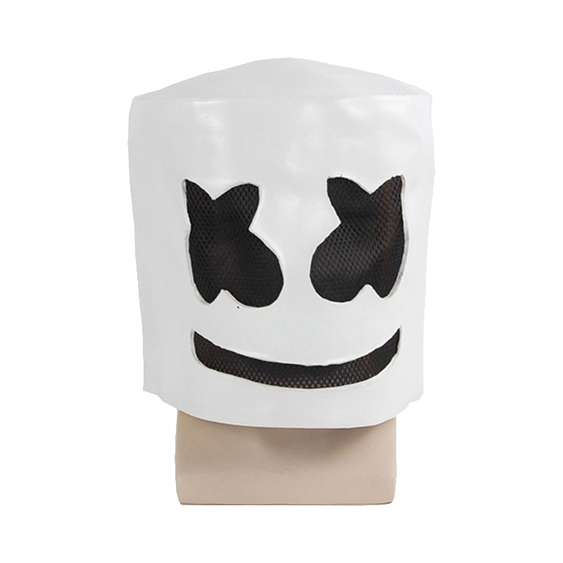 DJ Marshmello Mask Full Face Cosplay Costume Carnival Halloween Prop Latex Masks Headdress Helmet Accessories