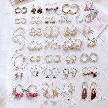 Новинка, двухслойные металлические круглые жемчужные хрустальные квадратные маленькие серьги-кольца для женщин и девушек, подарок на свадьбу