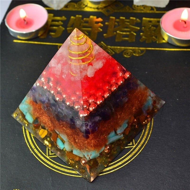 Aurora Orgonite Crystal Rune Pyramid Feng Shui Decoration Handmade Energy Converter Resin Decorative Craft Soothe The Soul