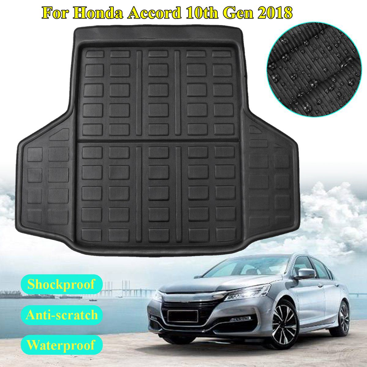 for Honda for Accord 10th Generation 2018 Rear Cargo Liner Boot Trunk Floor Mat Tray Carpet Interior Accessories