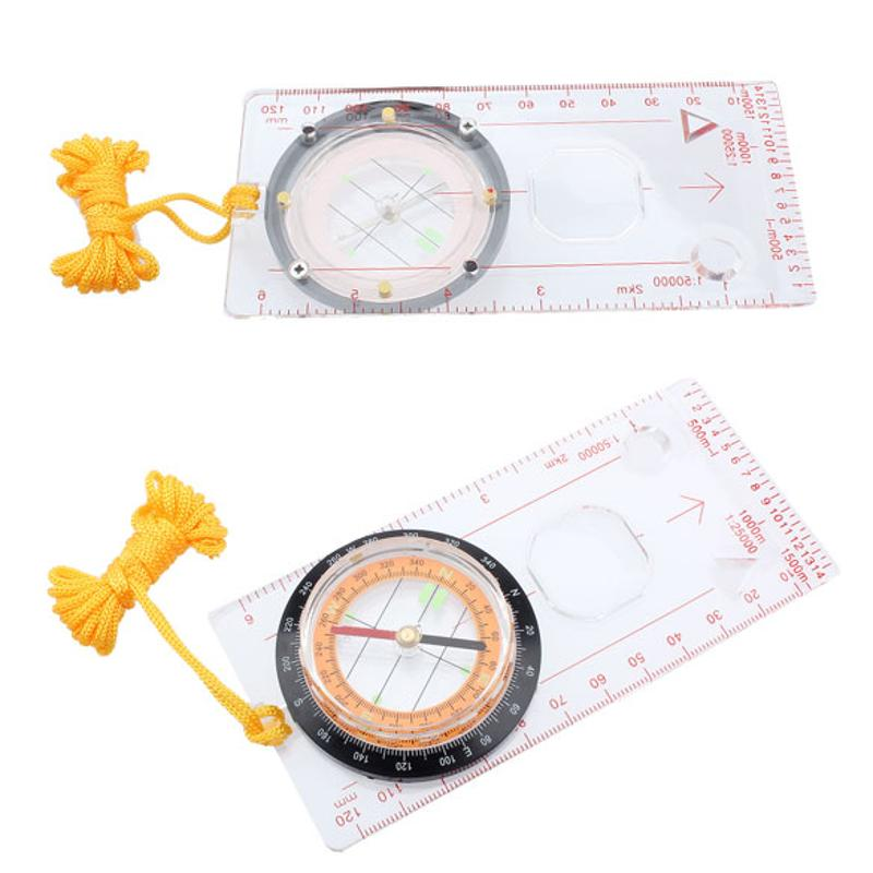 Multifunction Pointer Compasses Hiking Protractor Camping Compass Ruler Magnifier For Mapping Plotting With Neck Lanyard Rope