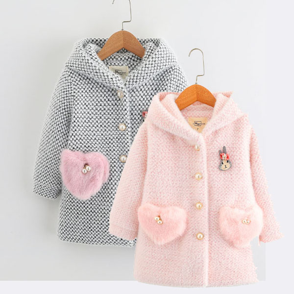 Girl's Mink Coat, Winter Coat, Princess's Woollen Coat