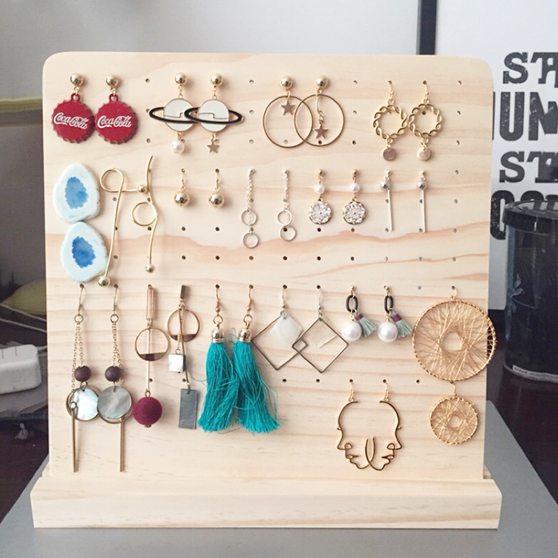Detachable 120 Slots Pin Wood Display Shelf Board Ear Ring Jewelry Packaging Stand Holder Box Store