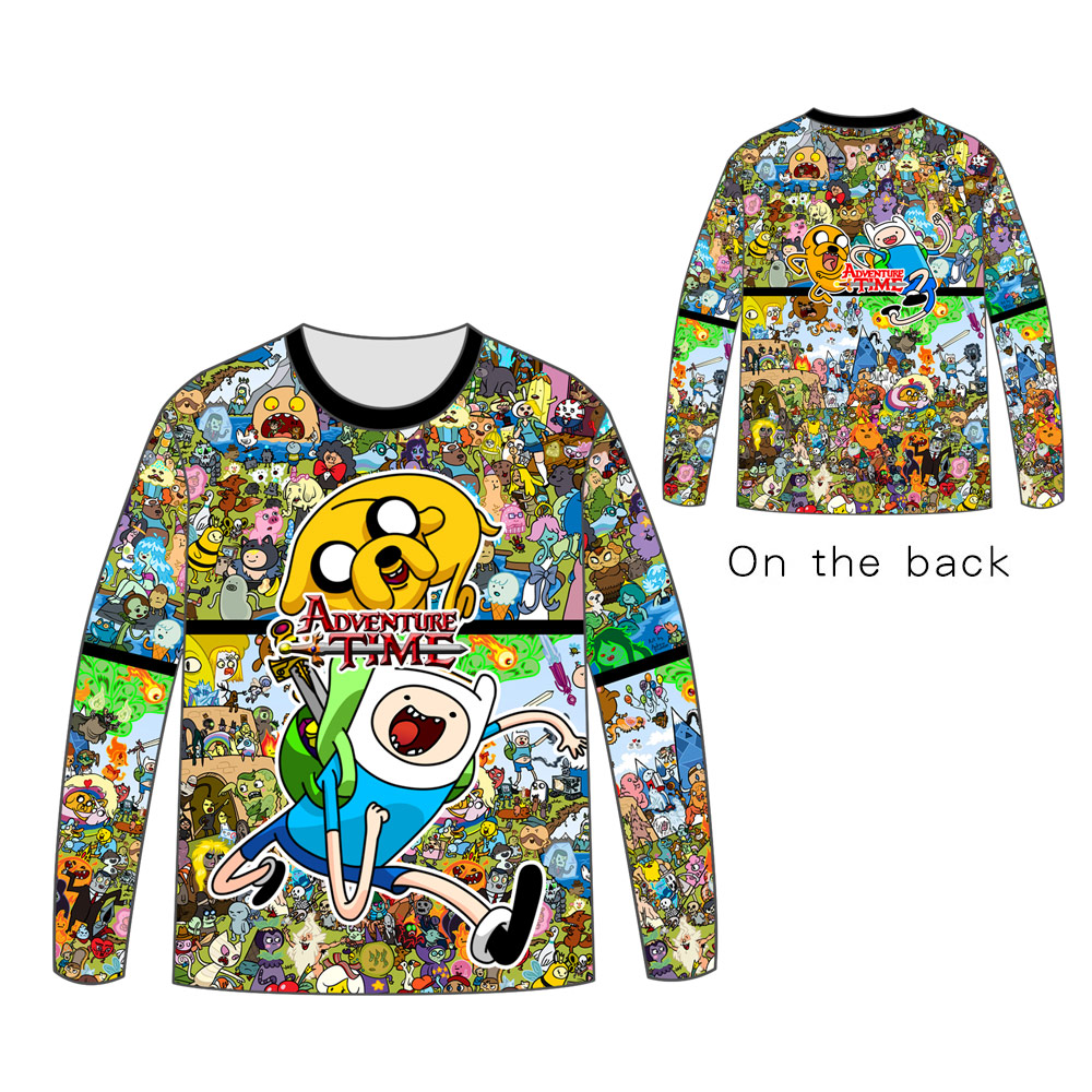 Hot Anime Adventure Time with Finn and Jake Tops Unisex Cosplay dress Long sleeve T shirt Tops Tees t shirt in T Shirts from Men 39 s Clothing