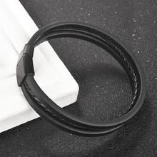 Male Punk Jewelry Leather Weave Bracelet Fashion Multilayer Rope Chain Stainless Steel Magnetic Clasp Wristband Christmas Gift