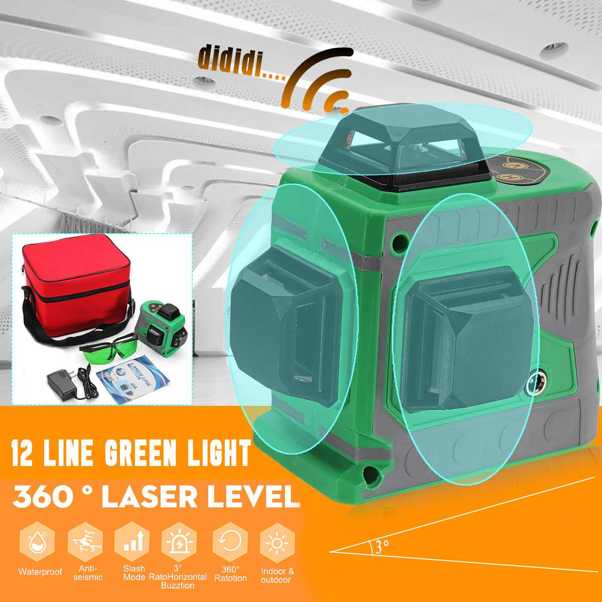 360 Rotary Measure 3D 12 Line Green Light Laser Level Auto Self Leveling Horizontal Vertical Cross Self Leveling 635nm Stability