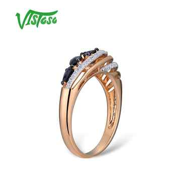 VISTOSO Gold Rings For Women Genuine 14K 585 Rose Gold Ring Sparkling Diamond Blue Sapphire Engagement Anniversary Fine Jewelry