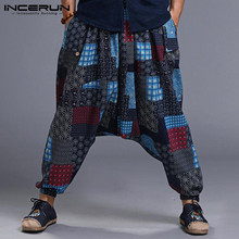 INCERUN 2020 Men Harem Pants Drop Crotch Print Hip-hop Trousers Baggy Cotton Stylish Retro Women Casual Plus Size