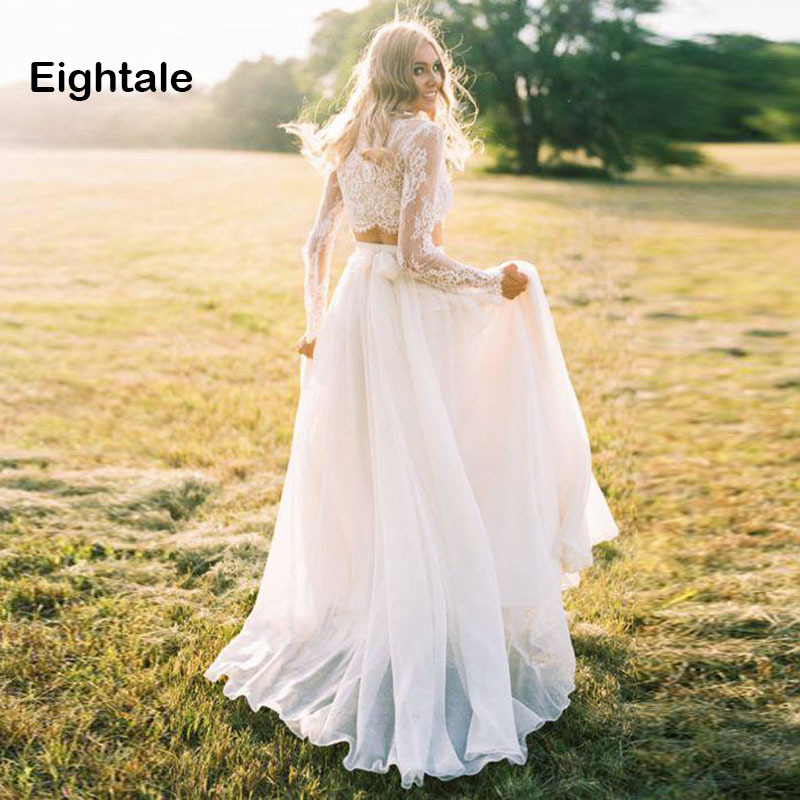 Eightale Two Piece Wedding Dress With Long Sleeve Boho O-Neck Lace Top A-Line Chiffon Beach Bridal Dress Wedding Gowns Vestido