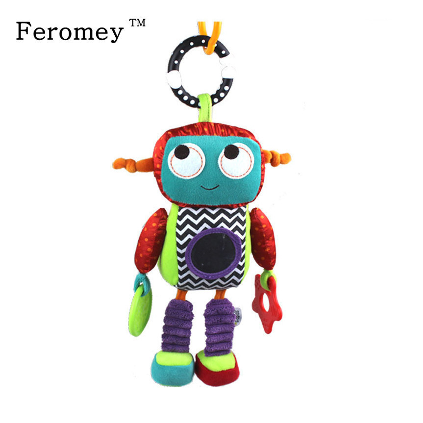 Sozzy Baby Plush Mobile Musical Rattle Toys Android Robot Baby Handing Toys For Newborn 0-12 Month Early Educational Toys Doll
