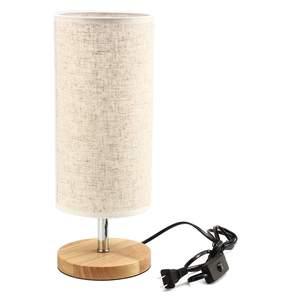 Image 4 - Lampe de bureau en tissu au Design moderne, éclairage de chevet, Base en bois, pour chambre à coucher, salon, bibliothèque des étudiants E27 220V