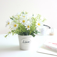 Love Little Daisy Artificial Flowers Bonsai Set Ornaments Potted Plants for the Crafts Ceramic Encryption